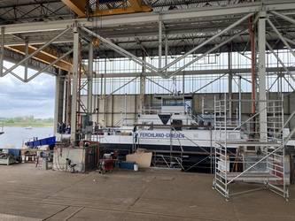 Das Fährschiff in der SET Werft Tangermünde © LKJL