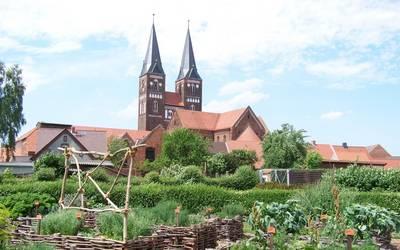 Blick vom Hochbeetgarten auf die Kirche © Kloster Jerichow
